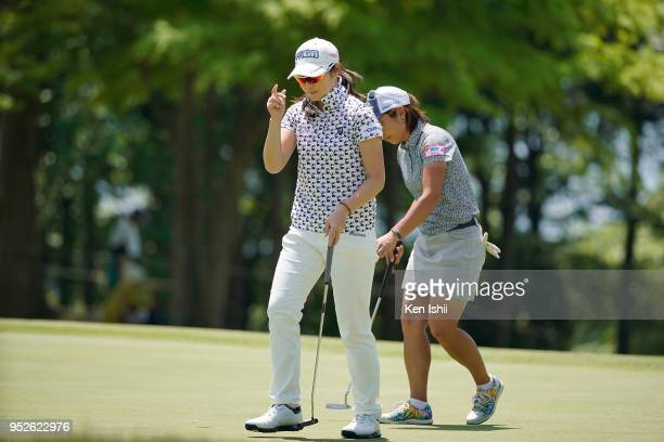 Rie Tsuji of Japan reacts on the 15th green during the final round of the CyberAgent Ladies Golf Tournament at Grand fields Country Club on April 29...