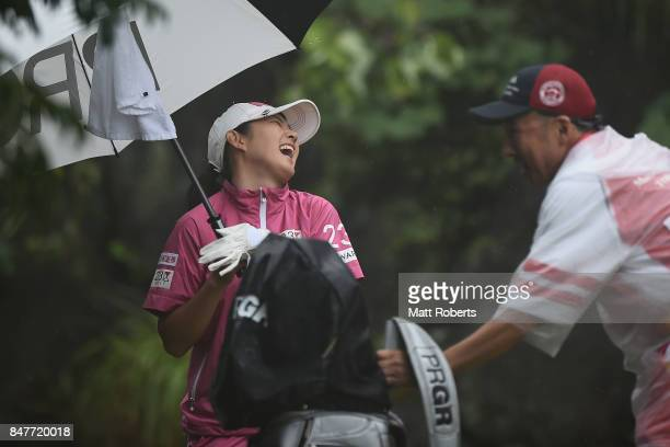 Rie Tsuji of Japan shares a laugh with her caddie during the second round of the Munsingwear Ladies Tokai Classic 2017 at the Shin Minami Aichi...