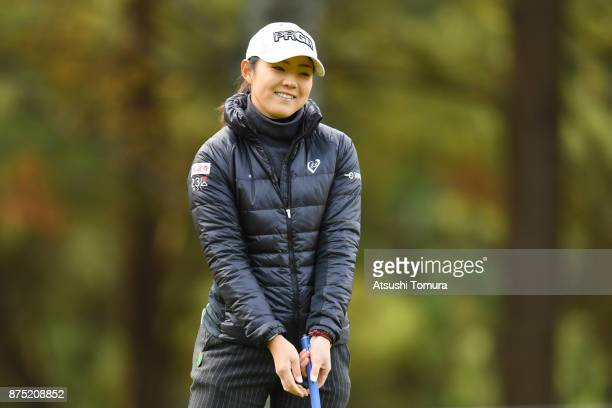 Rie Tsuji of Japan smiles after making her birdie putt on the 1st hole during the second round of the Daio Paper Elleair Ladies Open 2017 at the...