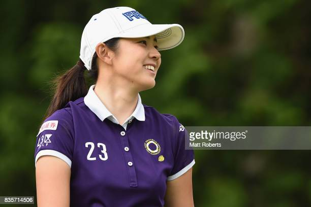 Rie Tsuji of Japan smiles during the final round of the CAT Ladies Golf Tournament HAKONE JAPAN 2017 at the Daihakone Country Club on August 20 2017...