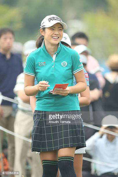 Rie Tsuji of Japan smiles during the final round of the Miyagi TV Cup Dunlop Ladies Open 2016 at the Rifu Golf Club on September 25 2016 in Rifu Japan