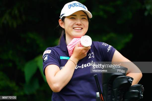 Rie Tsuji of Japan smiles during the first round of the Chukyo TV Bridgestone Ladies Open at Chukyo Golf Club Ishino Course on May 18 2018 in Toyota...