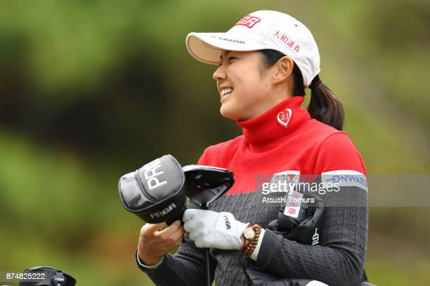 Rie Tsuji of Japan smiles during the first round of the Daio Paper Elleair Ladies Open 2017 at the Elleair Golf Club on November 16 2017 in Matsuyama...