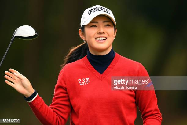 Rie Tsuji of Japan smiles during the third round of the Daio Paper Elleair Ladies Open 2017 at the Elleair Golf Club on November 18 2017 in Matsuyama...
