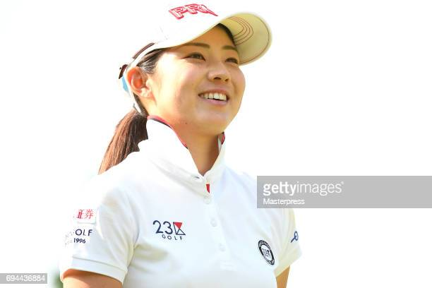 Rie Tsuji of Japan smiles during the third round of the Suntory Ladies Open at the Rokko Kokusai Golf Club on June 10 2017 in Kobe Japan