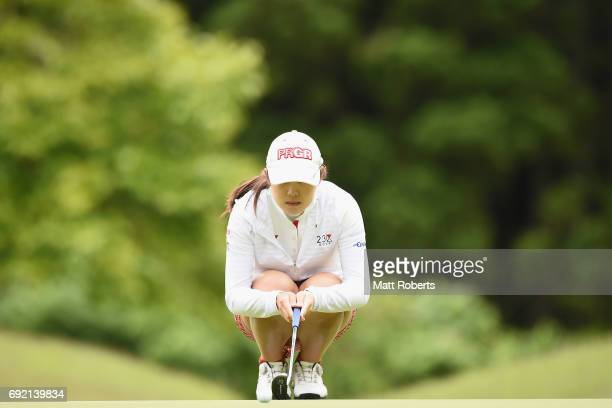 Rie Tsuji of Japan waits to putt during the final round of the Yonex Ladies Golf Tournament 2016 at the Yonex Country Club on June 4 2017 in Nagaoka...