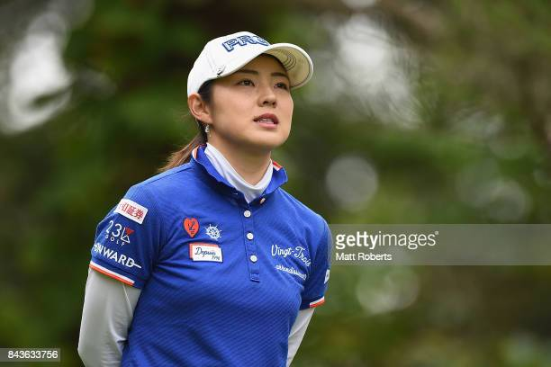 Rie Tsuji of Japan watches her tee shot on the 2nd hole during the first round of the 50th LPGA Championship Konica Minolta Cup 2017 at the Appi...