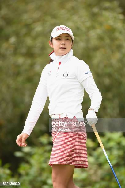 Rie Tsuji of Japan watches her tee shot on the 4th hole during the final round of the Yonex Ladies Golf Tournament 2016 at the Yonex Country Club on...