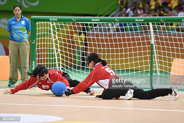 Rie Urata of Japan blocks in the women's Goalball on day 4 of the Rio 2016 Paralympic Games at Future Arena on September 11, 2016 in Rio de Janeiro,...