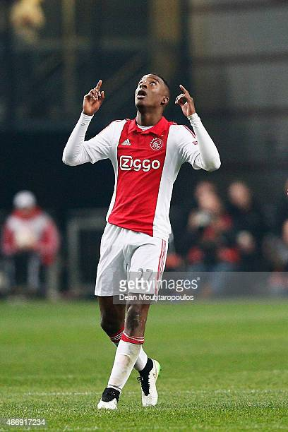 Riechedly Bazoer of Ajax celebrates after scoring a goal to level the scores at 11 on aggregate during the UEFA Europa League Round of 16 second leg...