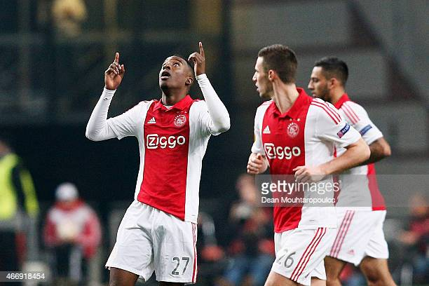Riechedly Bazoer of Ajax celebrates after scoring a goal to level the scores at 1-1 on aggregate during the UEFA Europa League Round of 16, second...