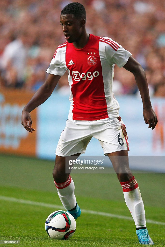 Riechedly Bazoer of Ajax in action during the UEFA Europa League play off round 1st leg match between Ajax Amsterdam and FK Baumit Jablonec on August 20, 2015 in Amsterdam, Netherlands.