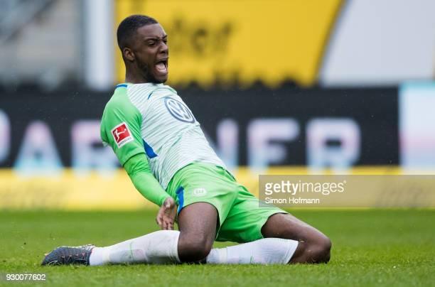 Riechedly Bazoer of Wolfsburg reacts during the Bundesliga match between TSG 1899 Hoffenheim and VfL Wolfsburg at Wirsol RheinNeckarArena on March 10...