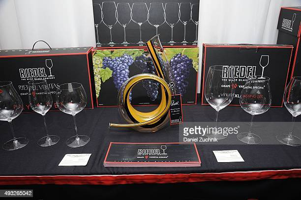 Riedel glasses are on display during the Anthony Hamilton Russell Leading The Way With His Iconic Wines From South Africa Wine Seminar Hosted By FOOD...