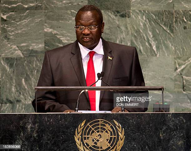 Riek Macha South Sudan Vice President addresses the 67th United Nations General Assembly meeting September 27 2012 at the United Nations in New York...