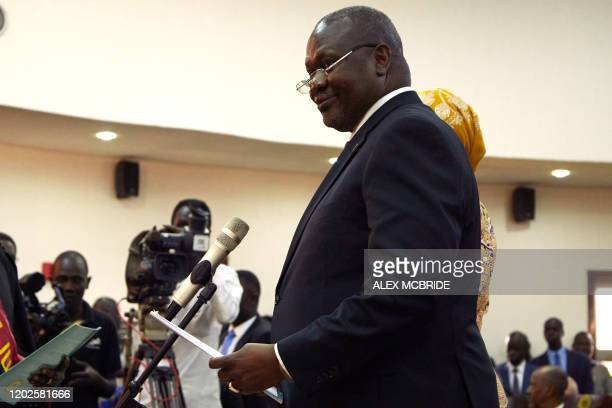 Riek Machar is sworn in as First Vice President of South Sudan on February 22 in Juba South Sudan rebel leader Riek Machar was sworn in as first vice...