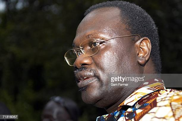 Riek Machar the vice president of South Sudan listens to journalists' questions during a rare meeting with Ugandan rebel group the Lord's Resistance...