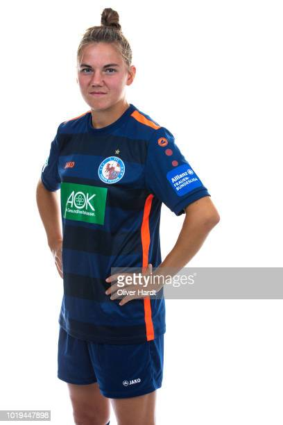 Rieke Dieckmann of Turbine Potsdam poses during the Allianz Frauen Bundesliga Club Tour at on August 17 2018 in Potsdam Germany