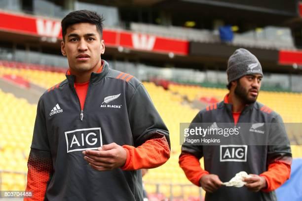 Rieko Ioane and Akira Ioane look on during the New Zealand All Blacks Captain's Run at Westpac Stadium on June 30 2017 in Wellington New Zealand