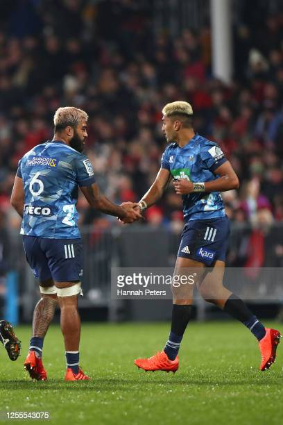 Rieko Ioane and Akira Ioane of the Blues during the round 5 Super Rugby Aotearoa match between the Crusaders and the Blues at Orangetheory Stadium on...