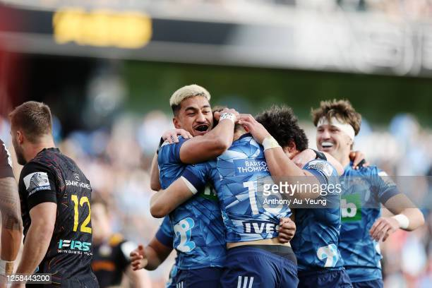 Rieko Ioane and Matt Duffie of the Blues celebrate a try during the round 7 Super Rugby Aotearoa match between the Blues and the Chiefs at Eden Park...