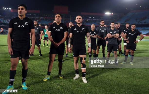Rieko Ioane Anton LienertBrown and TJ Perenara of the New Zealand All Blacks during the Rugby Championship match between South Africa Springboks and...