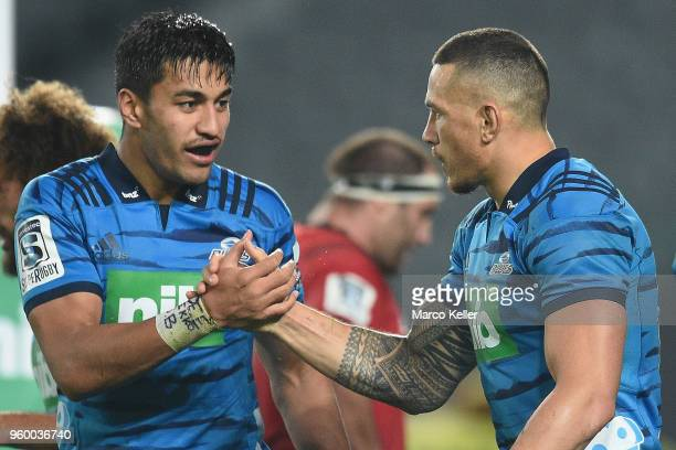Rieko Ioane is congratulated by Sonny Bill Williams during the round 14 Super Rugby match between the Blues and the Crusaders at Eden Park on May 19...