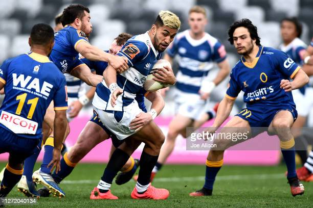 Rieko Ioane of Auckland gets caught in a tackle during the round 1 Mitre 10 Cup match between Otago and Auckland at Forsyth Barr Stadium on September...