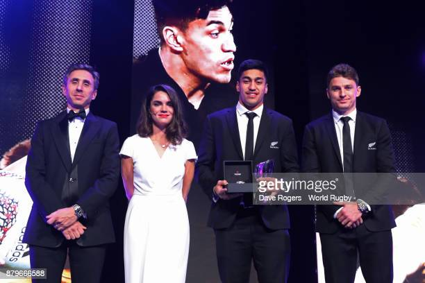 Rieko Ioane of New Zealand poses with the World Rugby Breakthrough Player of the Year Award in association with Tudor during the World Rugby Awards...