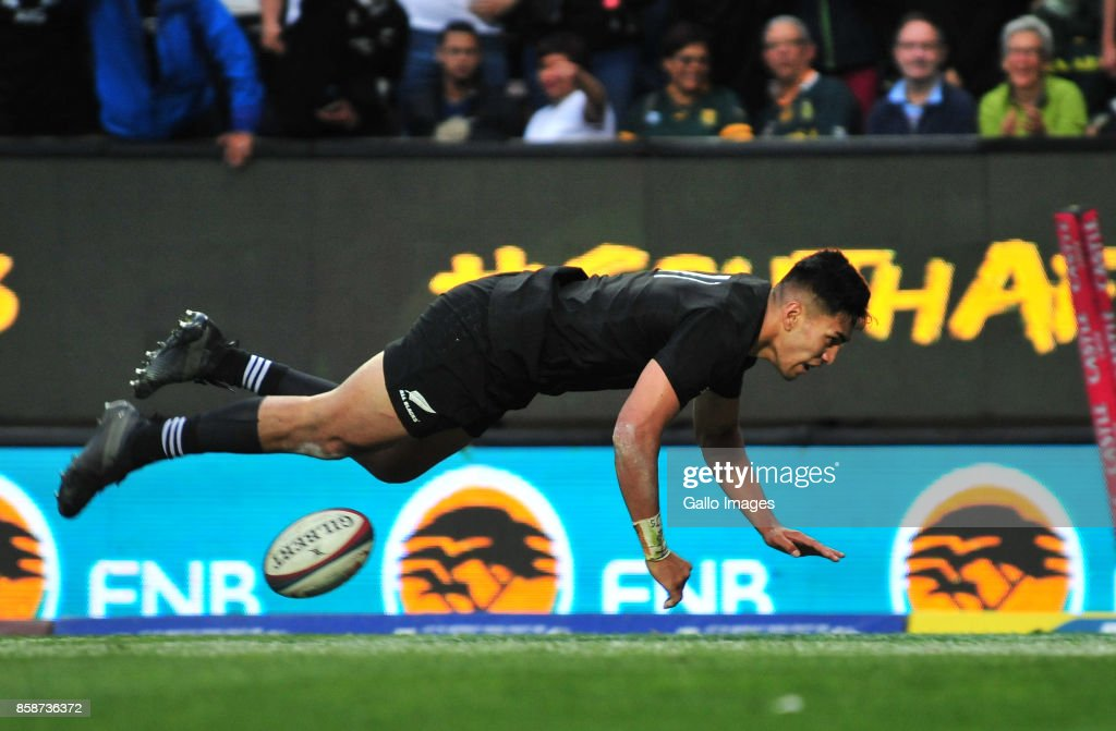 Rieko Ioane of New Zealand scores during the Rugby Championship 2017 match between South Africa and New Zealand at DHL Newlands on October 07, 2017 in Cape Town, South Africa.