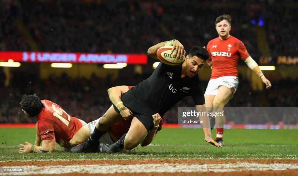 Rieko Ioane of New Zealand touches down for the fifth try during the International match between Wales and New Zealand at Principality Stadium on November 25, 2017 in Cardiff, Wales.