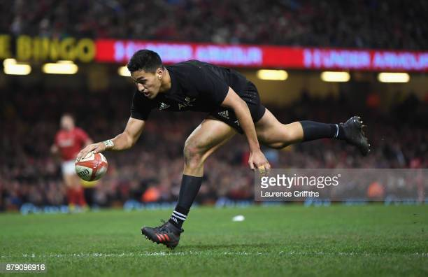 Rieko Ioane of New Zealand touches down for the fourth try during the International match between Wales and New Zealand at Principality Stadium on...