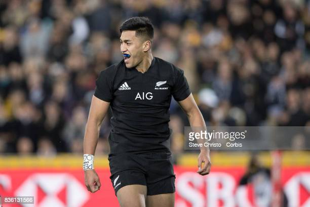 Rieko Ioane of the All Blacks celebrates after scoring a try during The Rugby Championship Bledisloe Cup match between the Australian Wallabies and the New Zealand All Blacks at ANZ Stadium, New South Wales, Australia.