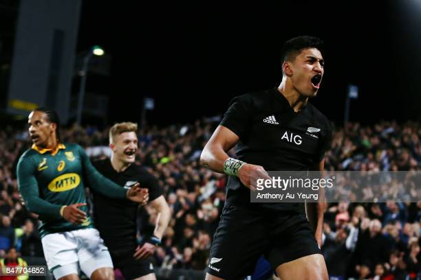 Rieko Ioane of the All Blacks celebrates after scoring a try during the Rugby Championship match between the New Zealand All Blacks and the South...