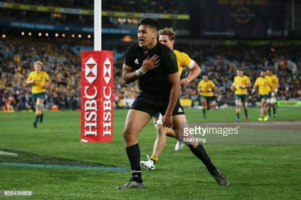 Rieko Ioane of the All Blacks celebrates scoring a try during The Rugby Championship Bledisloe Cup match between the Australian Wallabies and the New...