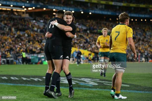 Rieko Ioane of the All Blacks celebrates with Beauden Barrett after scoring a try during The Rugby Championship Bledisloe Cup match between the...