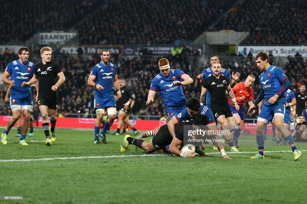 Rieko Ioane of the All Blacks dives over to score a try during the International Test match between the New Zealand All Blacks and France at Forsyth Barr Stadium on June 23, 2018 in Dunedin, New Zealand.