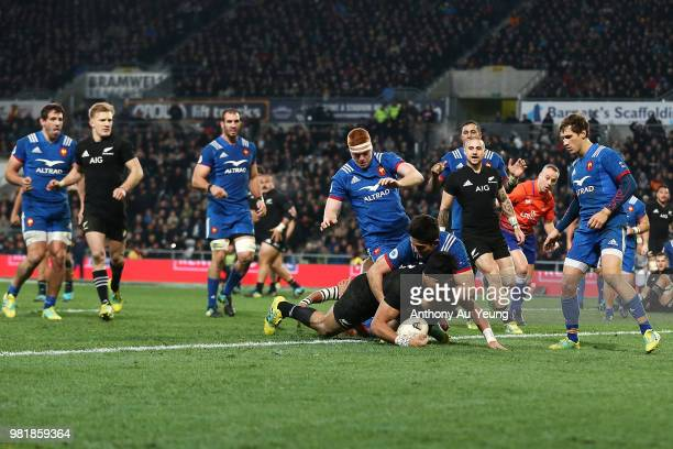 Rieko Ioane of the All Blacks dives over to score a try during the International Test match between the New Zealand All Blacks and France at Forsyth...