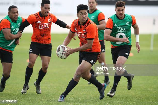 Rieko Ioane of the All Blacks during a New Zealand All Blacks training session at Alexandra Park on September 12 2017 in Auckland New Zealand