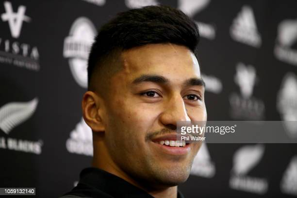 Rieko Ioane of the All Blacks during a New Zealand All Blacks Media Session at The Lensbury on November 8 2018 in London England