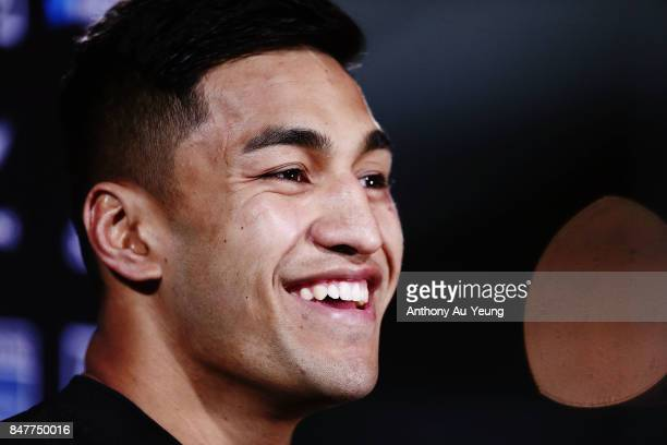 Rieko Ioane of the All Blacks is interviewed after winning the Rugby Championship match between the New Zealand All Blacks and the South African...