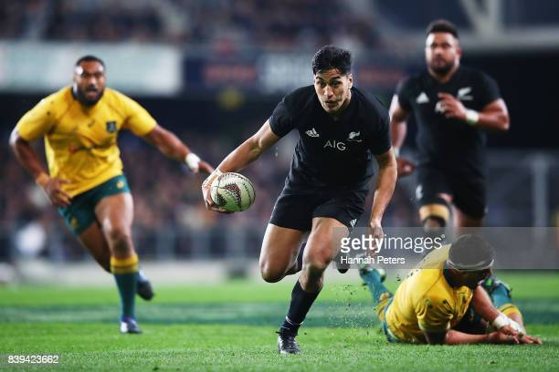 Rieko Ioane of the All Blacks makes a break during The Rugby Championship Bledisloe Cup match between the New Zealand All Blacks and the Australia...