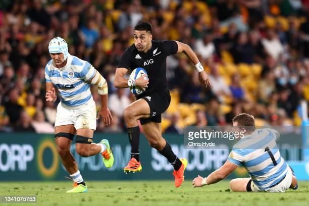 Rieko Ioane of the All Blacks makes a break during The Rugby Championship match between the Argentina Pumas and the New Zealand All Blacks at Suncorp...