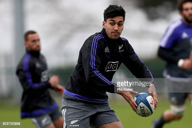 Rieko Ioane of the All Blacks passes during the New Zealand All Blacks captains run at the Suresnois Rugby Club on November 25 2016 in Paris France