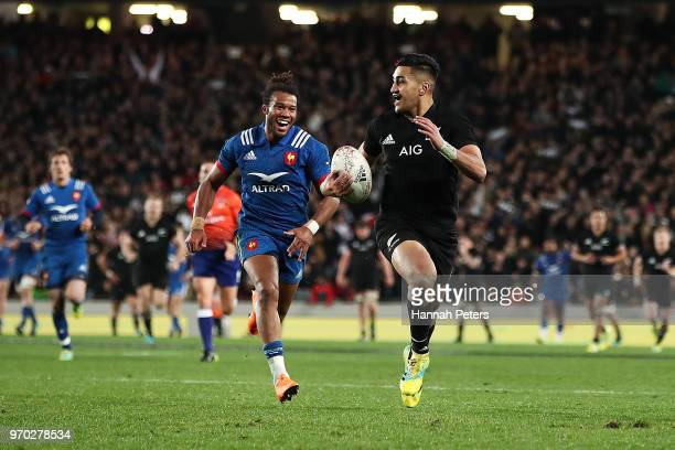 Rieko Ioane of the All Blacks runs away to score a try during the International Test match between the New Zealand All Blacks and France at Eden Park...