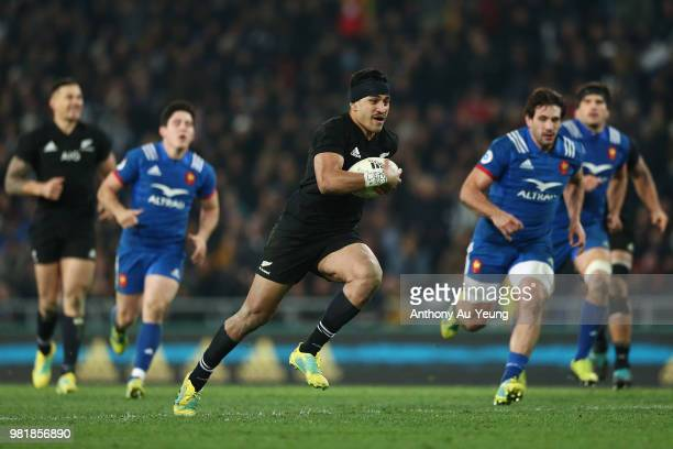 Rieko Ioane of the All Blacks runs in to score a try during the International Test match between the New Zealand All Blacks and France at Forsyth...
