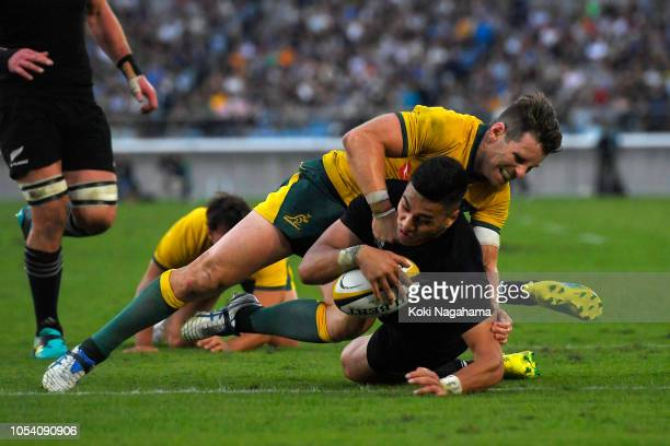 Rieko Ioane of the All Blacks scores a try during the Bledisloe Cup Bledisloe Cup test match between New Zealand All Blacks and Australian Wallabies...