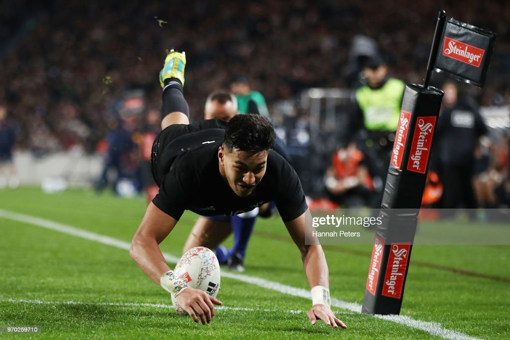 Rieko Ioane of the All Blacks scores a try during the International Test match between the New Zealand All Blacks and France at Eden Park on June 9, 2018 in Auckland, New Zealand.