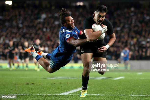 Rieko Ioane of the All Blacks scores a try during the International Test match between the New Zealand All Blacks and France at Eden Park on June 9...
