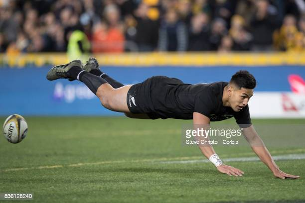 Rieko Ioane of the All Blacks scores a try during The Rugby Championship Bledisloe Cup match between the Australian Wallabies and the New Zealand All...